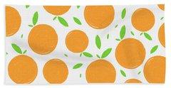 Sunny Citrus Pattern Beach Towel