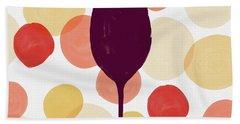 Bold Modern Wine Glass Art Beach Towel