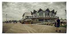 Beach Towel featuring the photograph Asbury Park Boardwalk Looking South by Steve Stanger