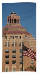 Asheville City Hall With Flag Beach Towel