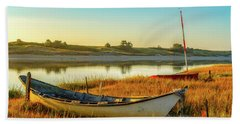 Beach Towel featuring the photograph Boats In The Marsh Grass, Ogunquit River by Jeff Sinon