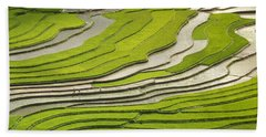 Asian Rice Field Beach Towel