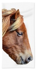 Beach Towel featuring the photograph Assateague Pony Sarah's Sweet On White by Bill Swartwout Fine Art Photography