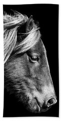 Beach Towel featuring the photograph Assateague Pony Sarah's Sweet Tea B And W by Bill Swartwout Fine Art Photography