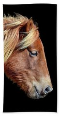 Beach Towel featuring the photograph Assateague Pony Sarah's Sweet Tea On Black Square by Bill Swartwout Fine Art Photography