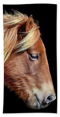 Beach Towel featuring the photograph Assateague Pony Sarah's Sweet Tea Portrait On Black by Bill Swartwout Fine Art Photography
