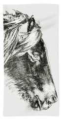 Beach Towel featuring the photograph Assateague Pony Sarah's Sweet Tea Sketch by Bill Swartwout Fine Art Photography