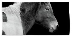Beach Towel featuring the photograph Assateague Pony Susi Sole Black And White Portrait by Bill Swartwout Fine Art Photography
