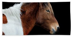 Beach Towel featuring the photograph Assateague Pony Susi Sole Portrait On Black by Bill Swartwout Fine Art Photography