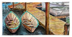 At The Dock In Gloucester Massachusetts Beach Towel