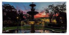 Augusta University Fountain Sunset Ga Beach Towel