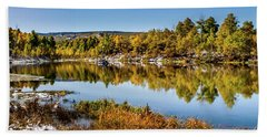 Beach Towel featuring the photograph Autumn At Ivie Pond Panoramic by TL Mair