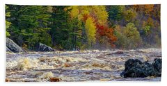 Autumn Colors And Rushing Rapids   Beach Towel