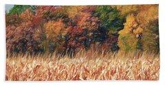 Autumn Cornfield Beach Towel