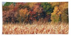 Autumn Cornfield Beach Towel