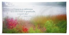 Autumn Fog On Eagle Lake Gratitude Art Beach Sheet