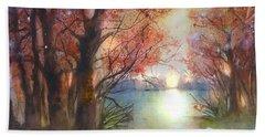 Autumn Forest Sunrise Beach Towel