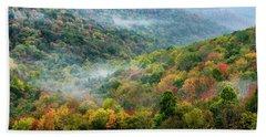 Autumn Hillsides With Mist Beach Sheet
