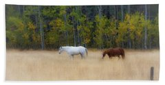 Autumn Horse Meadow Beach Towel