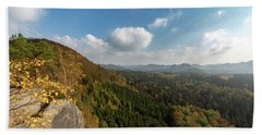 Beach Towel featuring the photograph Autumn In The Elbe Sandstone Mountains by Andreas Levi