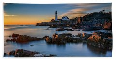 Beach Towel featuring the photograph Autumn Morning At Portland Head Lighthouse  by Rick Berk