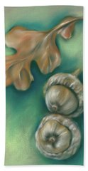 Beach Towel featuring the pastel Autumn Oak Leaf And Acorns by MM Anderson