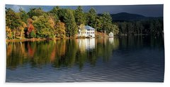Autumn Reflection Lake Morey Vermont Beach Towel