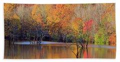 Beach Sheet featuring the photograph Autumn Reflections by Angela Murdock
