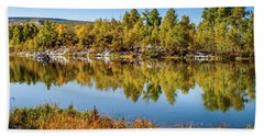 Beach Towel featuring the photograph Autumn Reflections At Ivie Pond by TL Mair