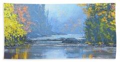 Autumn River Trees Beach Towel