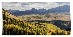 Beach Towel featuring the photograph Autumn Season View Of Sneffles Ten Peak by James BO Insogna