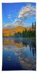 Beach Towel featuring the photograph Autumn Sky, Mountain Pond by Jeff Sinon