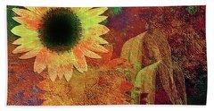 Autumn Sunflower Absrtact Beach Towel