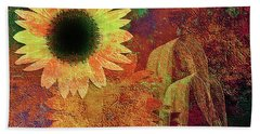 Autumn Sunflower Absrtact Beach Sheet