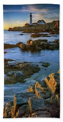 Beach Towel featuring the photograph Autumn Tranquility At Portland Head by Rick Berk