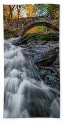Beach Towel featuring the photograph Autumn Waterfall In Hallowell by Rick Berk