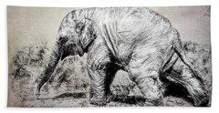 Baby Elephant Walk Beach Towel