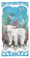 Baby Lamb With White Butterflies Beach Towel