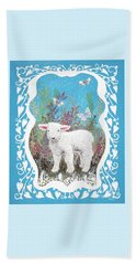 Baby Lamb With White Butterflies Beach Sheet