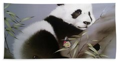 Baby Panda And Butterfly Beach Towel