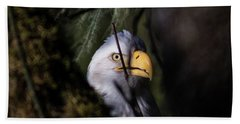 Bald Eagle Behind Tree Beach Towel