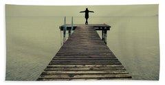 Ballerina Pose At Idyllic Lake At Winter Beach Towel