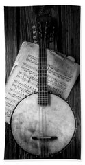 Banjo And Sheet Music Black And White Beach Towel