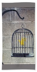 Banksy Bird Cage Detroit Beach Towel
