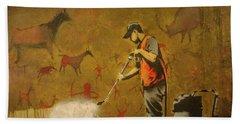 Banksy's Cave Painting Cleaner Beach Towel