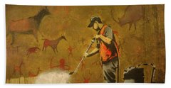 Banksy's Cave Painting Cleaner Beach Towel