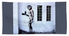 Bansky Fast Food Caveman Los Angeles Beach Towel