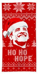 Barack Obama Ho Ho Hope Christmas Beach Towel