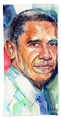 Barack Obama Watercolor Beach Towel