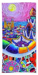 Barcelona Park Guell Colorful Night Textural Impasto Knife Oil Painting Abstract Ana Maria Edulescu Beach Towel